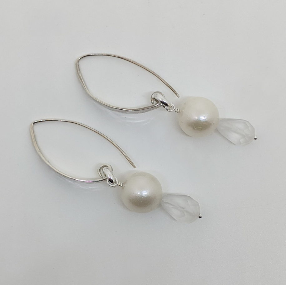 South Sea Pearl & Crystal Earrings by Val Nunns at The Avenue Gallery, a contemporary fine art gallery in Victoria, BC, Canada.